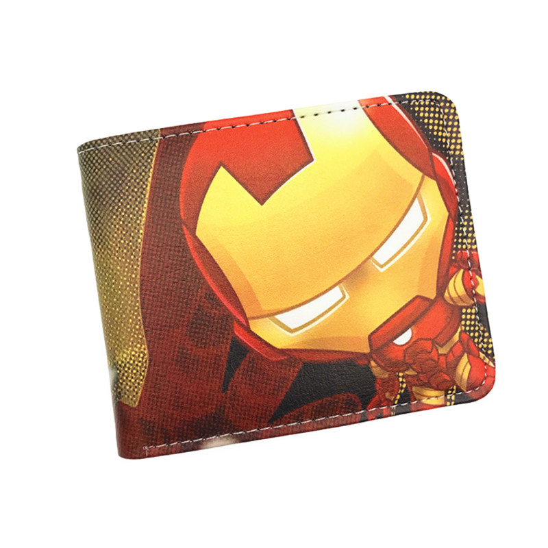 Wallet Anime Heroes Iron Man Captain America Shield Spider Man Ant Man Punisher Venom Short Wallets With Card Holder marvel comic wallets book of the alliance anime the united states captain of america iron man green giant spider man wallet