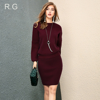 RG Casual Wool Sweater Sexy Slim Fit Skirt Two Piece Set Women's Winter Knitted Skirts Sweater Office Work Wear Suits Set 2018