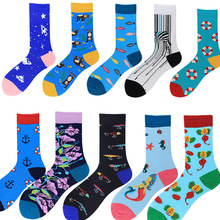 2019 spring autumn new men and couples tide socks mens tube cotton cartoon animal color large flower jacquard