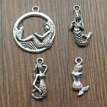 15pcs Mermaid Charm Antique Silver Color Mermaid Charm Pendants For Bracelets Mermaid Charm Making Jewelry cheap Ahri Zinc Alloy DIY For Jewelry Making Fashion Metal Vintage Charms