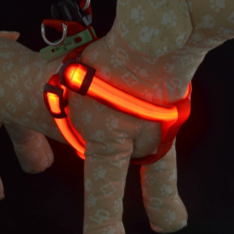 FE19 free shipping   USB rechargerable pet dog harness LED light pet - Pet Products