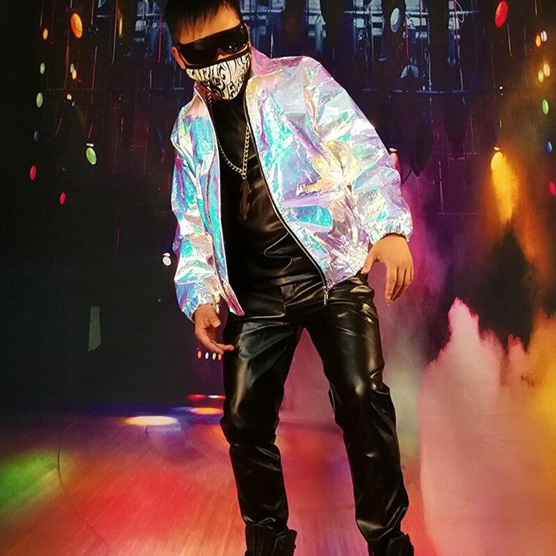 남자 멋진 레이저 실버 자켓 사용자 정의 만든 파티 슈퍼 스타 무대 의상 남성 패션 캐주얼 힙합 코트-에서재킷부터 남성 의류 의  그룹 1
