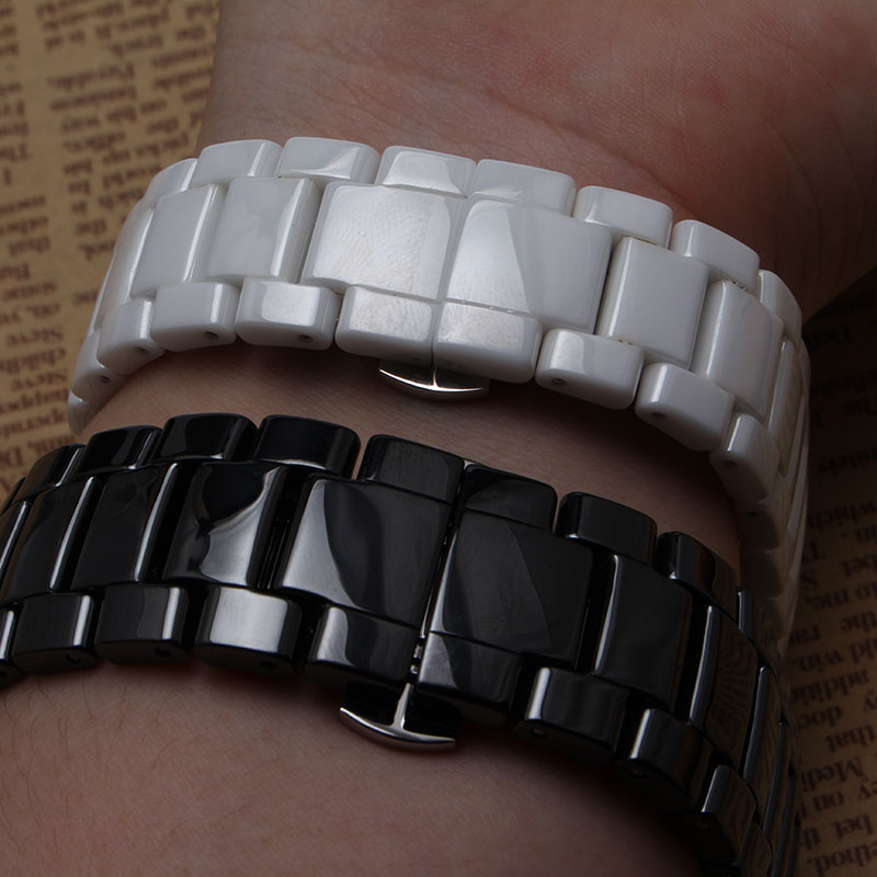 Céramique bracelet bracelet de bracelet de montre femmes hommes montres bande 22mm 19mm blanc noir Papillon boucle convexe fin pour 1421