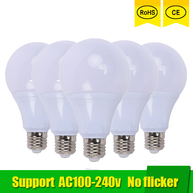 5pcs LED lamp E27 3W 5W 7W 9W 12W 15W SMD 2835 Real Power Led Light Bulb AC 220V 110V Cold Warm White Led ball bulb for home jrled e27 12w 1000lm 3300k 60 smd 2835 led warm white horizontal lamp white silver ac 85 265v