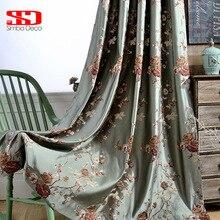 ستائر تعتيم فاخرة صينية لغرفة المعيشة غرفة نوم ستائر مطرزة نافذة خضراء قماش مطبخ مزهّر لوحة مقاس مخصص