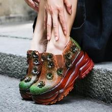 Vintage Pumps Lady High Platform Women High Heel Shoes Natural Leather Rivet Flowers Elastic Band Mixed Color Female Wedge Shoes