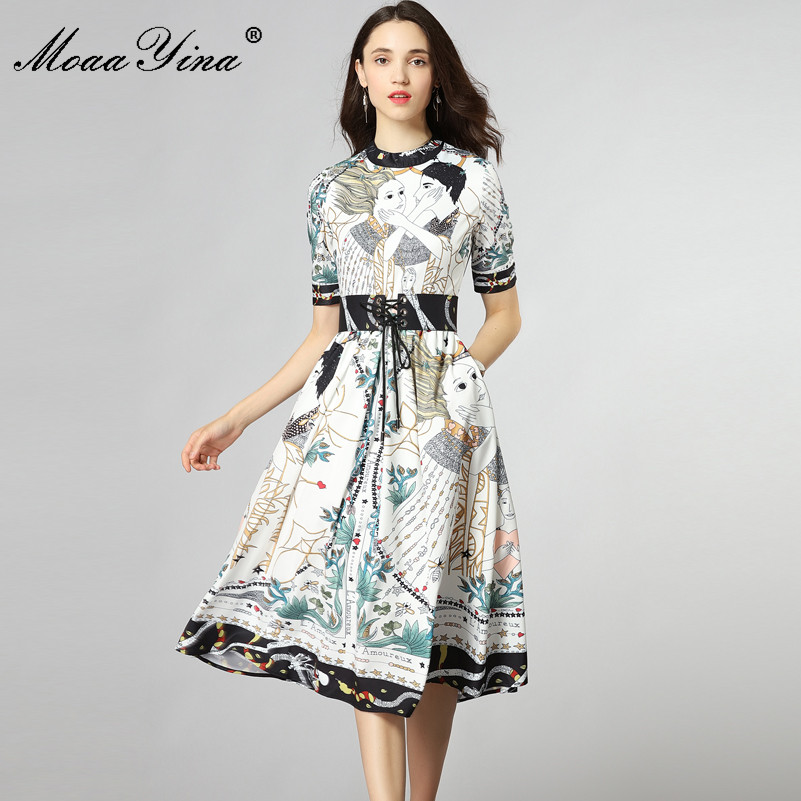 MoaaYina Fashion Designer Runway Dress Summer Women Short sleeve Romanti love Floral Print Lace-up Casual Elegant Midi Dress цена