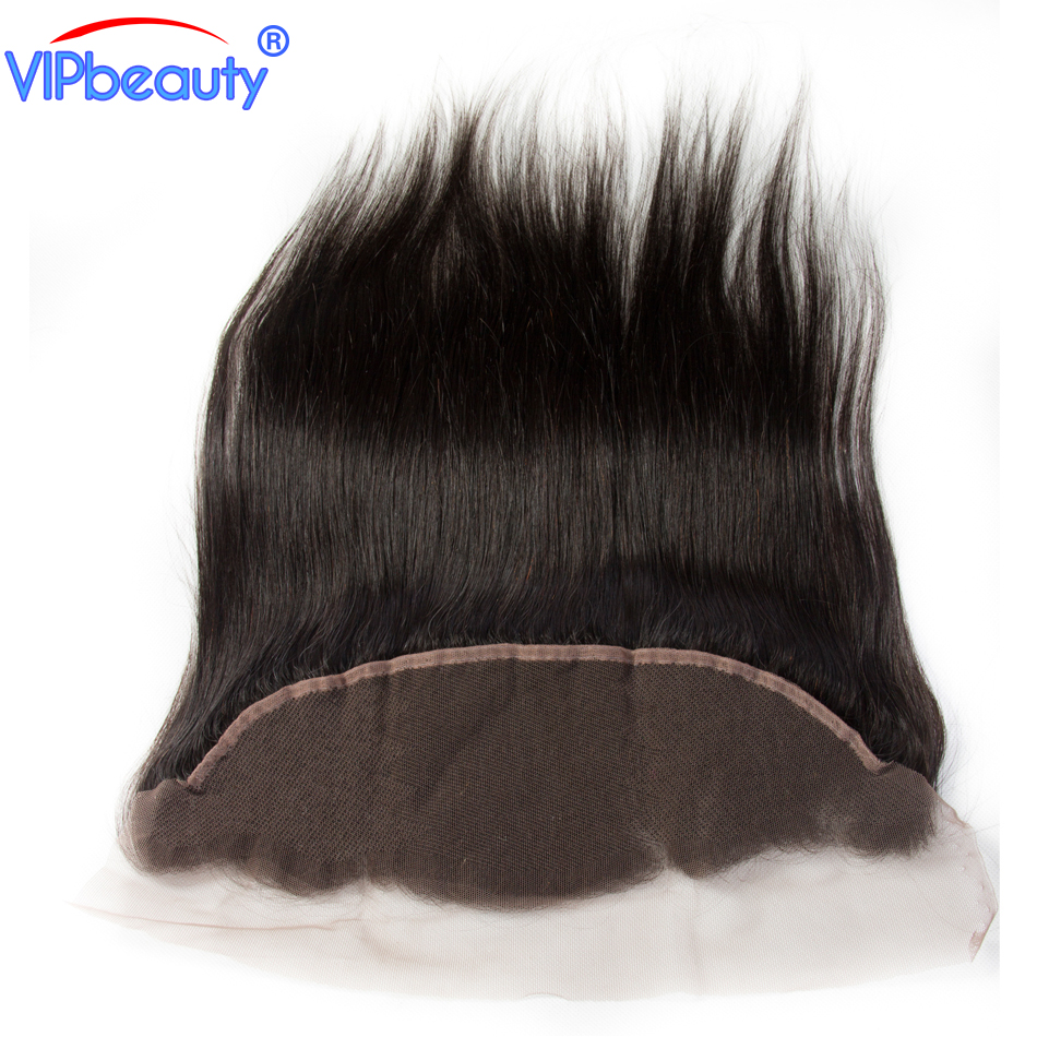 Vipbeauty Peruvian straight hair 13x4 ear to ear lace frontal closure remy human hair extension 12-20inch 1b