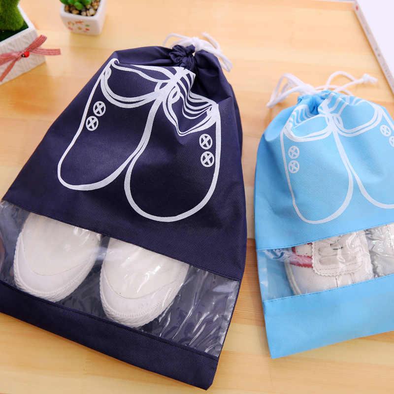 2 tamanhos Saco de Sapatos À Prova D' Água Bolsa Saco de Viagem Portátil Saco De Armazenamento Saco de Cordão Tote Organizador Cobrir Não-Tecido cor aleatória