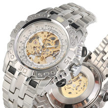 Business Skeleton Watch Stainless Steel Automatic Mechanical Watches 2019 Golden Gear Hollow-out Design Tevise uhren herren