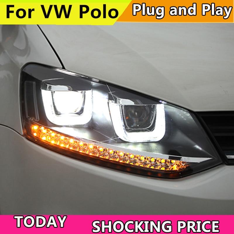Автомобиль голове стиль лампы для VW Polo фары 2010 2016 U Ангельские глазки дневного света течет поворотов фар