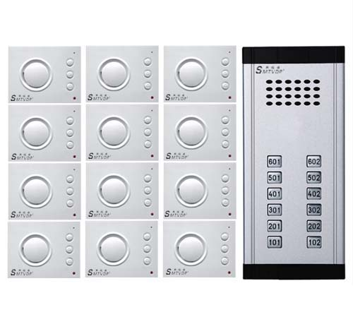 SMTVDP Intercom System Direct Press Key Audio Door Phone for 12 apartments 4-wired Audio Doorphone With Hand-free Indoor Units