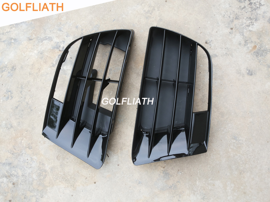 GOLFLIATH For Scirocco R front bumper side grille lower grill fog light grille fit for VW scirocco R bumper 2009-2014 white fog light grille foglamps grill cover for vw golf rabbit mk5 2003 2009 with hardness switch h3 bulbs p98