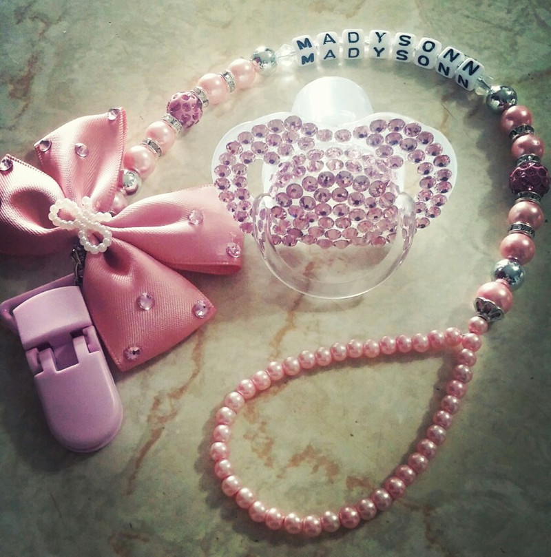 Personalised-any name set stunning pink bling pacifier clip holder dummy clip with bling pacifier