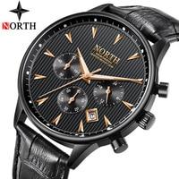 NORTH Luxury Brand Men Watch Auto Date Chronograph Quartz Watch Mens Leather Fashion Sports Military Watches Relogio Masculino