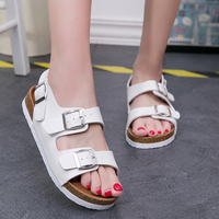 Cork sandals woman zapatos mujer flip flops beach shoes platform wedges solid color gladiator huarache shoes sandalias femeninas