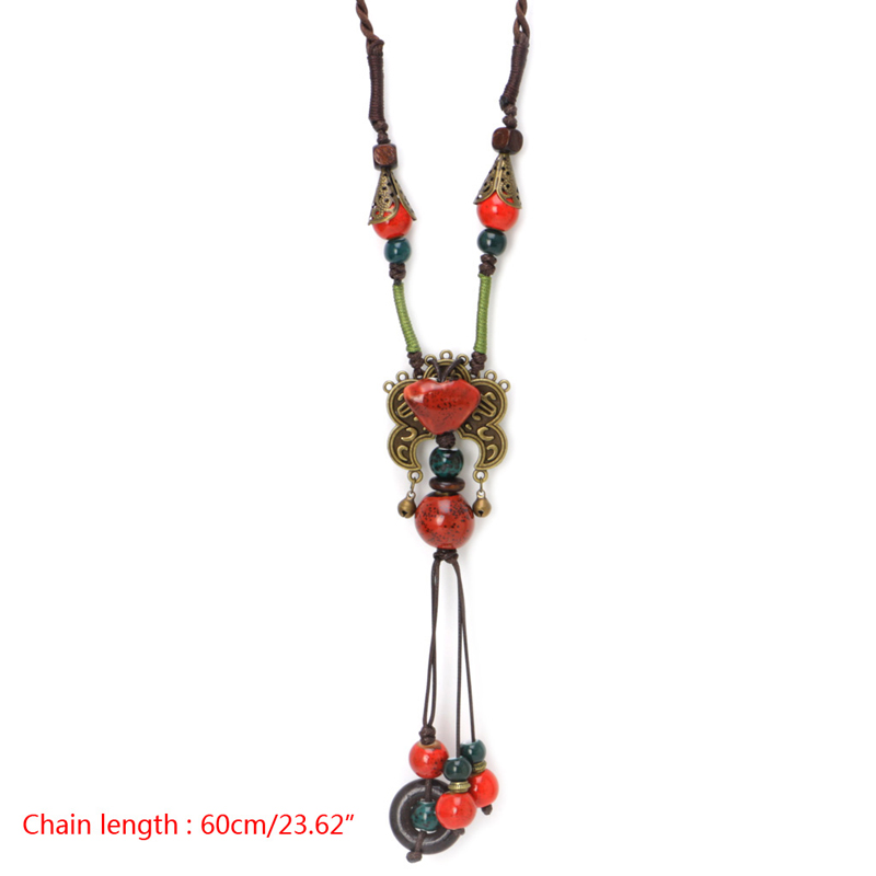 Fashion Ethnic Jewelry Bohemian Traditional Handmade Ornaments Weave Wax Rope Ceramics Necklace Ceramics Beads Pendant Long Home