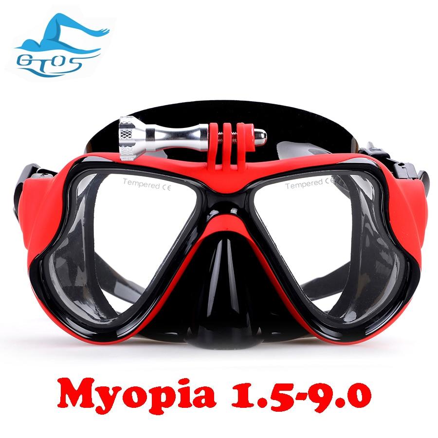 Маска для дайвинга при близорукости 1,5-9,0 с креплением gopro линзы для близорукости очки для близорукости силиконовые очки для очков для чтени...