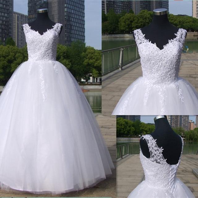 כדור שמלות ספגטי רצועות לבן שנהב טול שמלות כלה 2020 עם פניני כלה שמלת נישואים לקוחות Made גודל