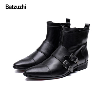 Batzuzhi Fashion Men Shoes Boots Pointed Soft Genuine Leather Boots Men Buckles Motorcycle,Knight, Work Boots for Men, Big US12
