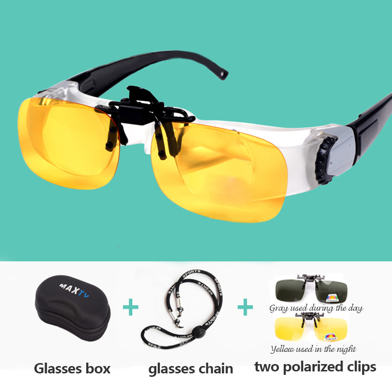 Portable Fishing Glassed Full Frame Glass Telescope Magnifier Binoculars Glasses Outdoor Polarized Sunglasses Accessories T45-in Fishing Eyewear from Sports & Entertainment