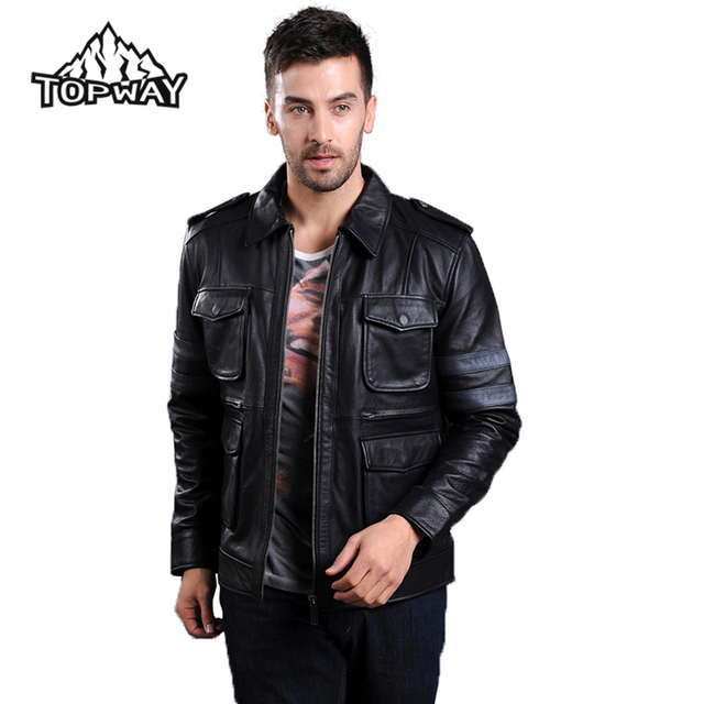High Quality Windproof Cappotto Top Pure Cowskin Leather Warm Coat Classic Celebrity Genuine Leather Jacket Men Doudoune Homme