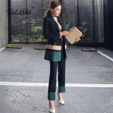 2017 Autumn Womens 2 Piece Pant Suits Women Casual Office Business Suits Formal Work Wear Sets Elegant Pant Suits Vestidos Mujer