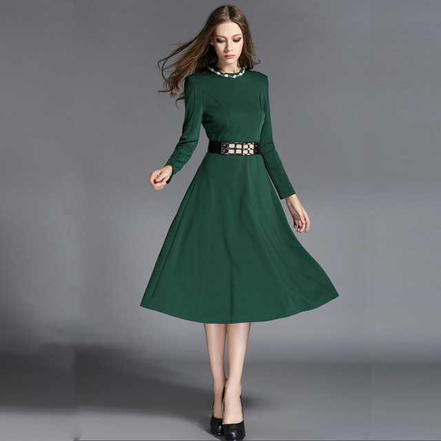 Women Elegant Office Dresses Formal Party Dress With Waistband Long