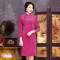 Novelty Chinese Traditional Women's Dress Long Sleeve Cheongsam Velvet Qipao Top Solid Color Clothing Size S M L XL XXL