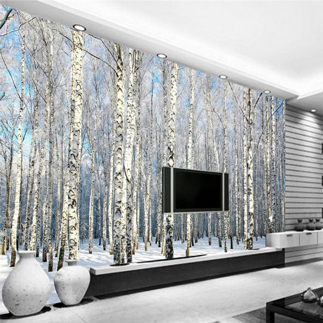 beibehang personnalis papier peint blanc bouleau for t la neige paysage t l vision fond salon. Black Bedroom Furniture Sets. Home Design Ideas