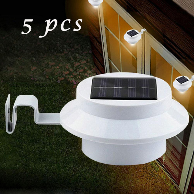 5 pcslot practical solar powered 3 led outdoor lights lamp fence 5 pcslot practical solar powered 3 led outdoor lights lamp fence gutter roof yard mozeypictures Choice Image