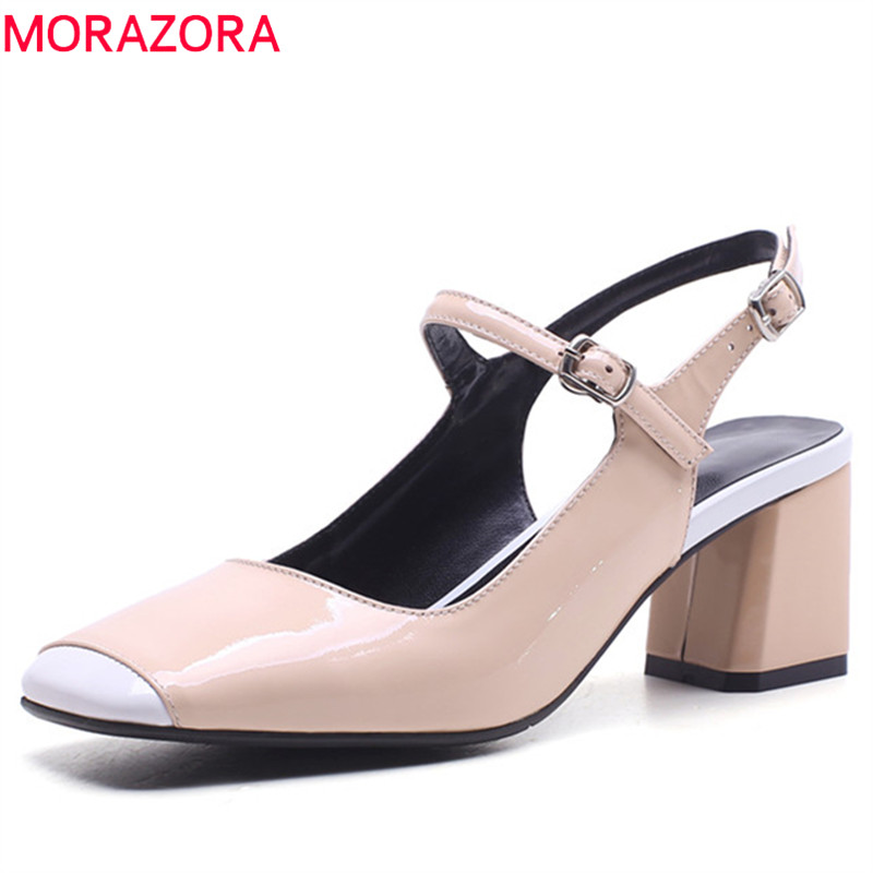 MORAZORA 2019 di alta qualità della pelle verniciata di estate scarpe da donna pompe punta quadrata fibbia scarpe tacchi alti del partito di modo scarpe da donna-in Pumps da donna da Scarpe su  Gruppo 1