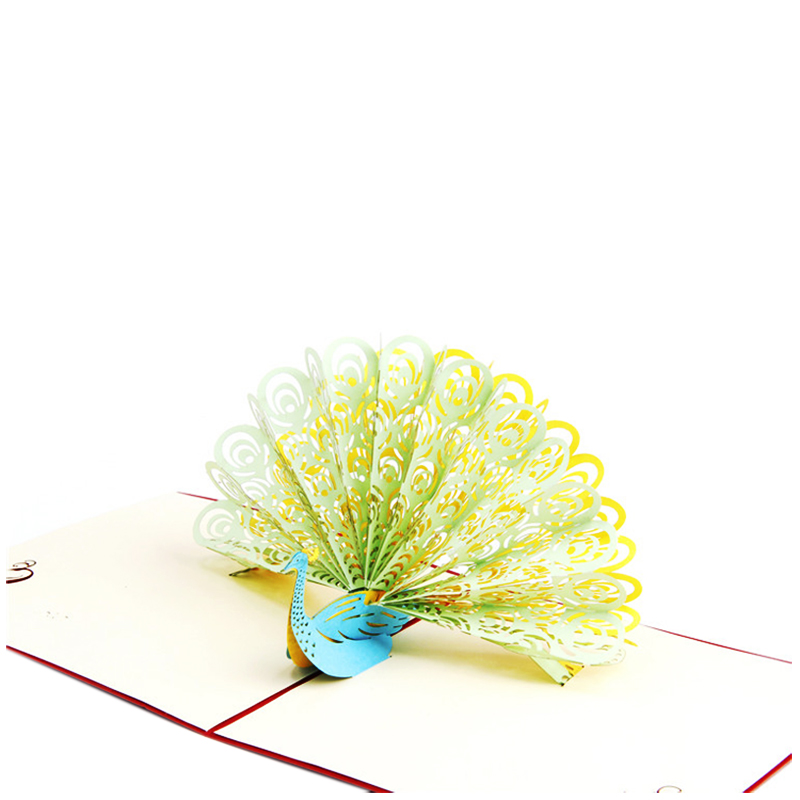 3D Cards Birthday Thank You Cards Gift Greeting Postcards Paper Kirigami Pop Up Laser Cut Peacock Customize Invitations 4TYPE
