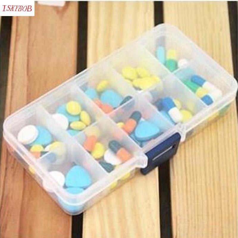 Nice Plastic 10 Slots Adjustable Jewelry Box Case Craft Organize Bag