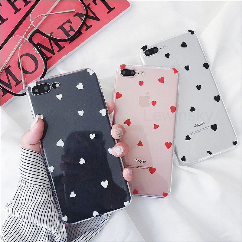 High Quality Silicone Phone cases for iphone 7 8 Plus case Love Heart Transparent soft TPU Back cover for iphone X 6 6s case X30