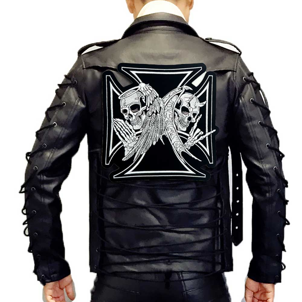 LARGE CROSS skull MOTORCYCLE BACKING Embroidered biker Patches in Patches from Home Garden