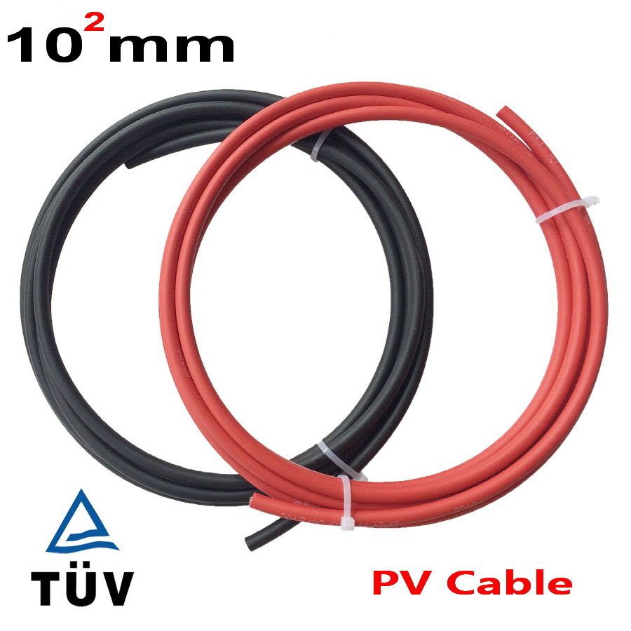 20 meters roll hot selling 10mm2 solar cable AWG PV cable with TUV approval 10mm2 solar