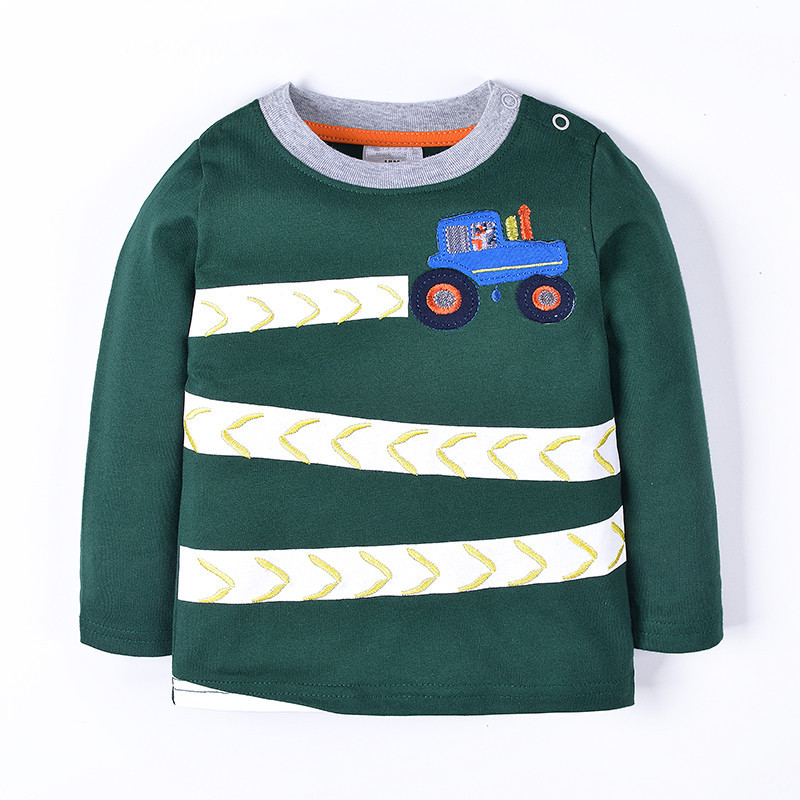 new style long sleeve baby boys t shirts kids spring autumn winter clothing with printed a car boys top quality t shirts 2017 new arrivals kids long sleeve plaid shirts car printing t shirt jeans 3pcs baby suit toddler boys clothing set 2 3 4 5 6 7y