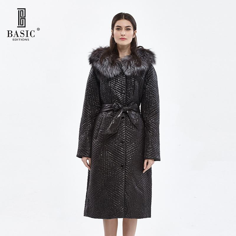 BASIC EDITIONS Winter Slim Fit Cotton Coat Women's Hooded Fox Fur Collar 3M Thinsulate Jackets Warm Winter Coat Parka - D11015 basic editions fall winter brown metallic silk fabric cotton coat with rabbit fur collar with belt covered button 7001d11