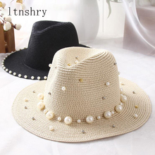 Summer Spring Sun Straw Caps Pearl Fashion Women Mens Hat Beach Panama Style