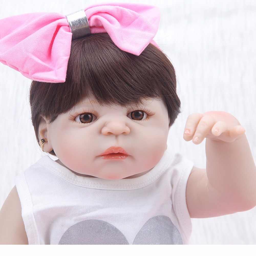 """22 """"полный силикон любит реалистичные детские bonecas девочка ребенок Кукла reborn com тела силиконовые игрушки для детей"""