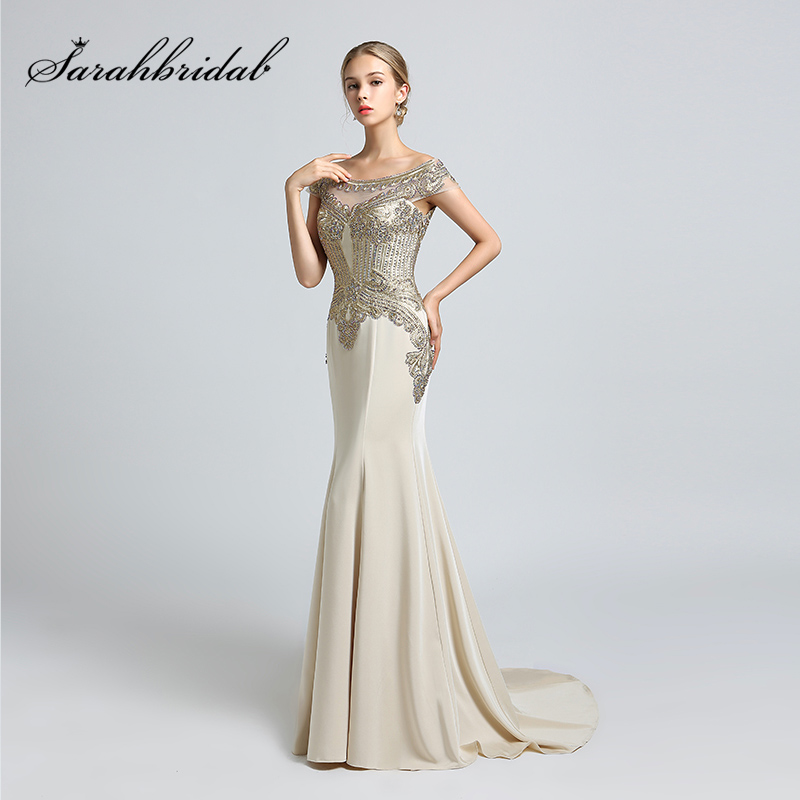 New Cheap Black Mermaid Evening Dresses with Golden Beaded ...