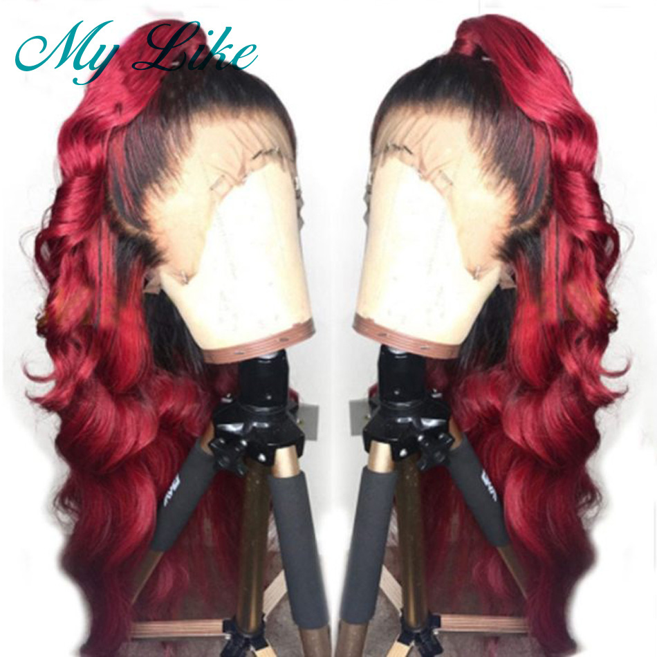 My Like Ombre Red Full Lace Wigs Brazilian Body Wave Glueless Human Hair Wigs Pre Plucked with Baby Hair Ombre Remy Lace Wig(China)
