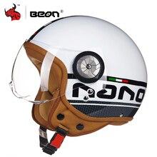 BEON Retrò Casco Moto D'epoca 3/4 Aperto Viso Scooter Moto Biker Caschi Uomini Donne Vintage Moto Visiera del Casco