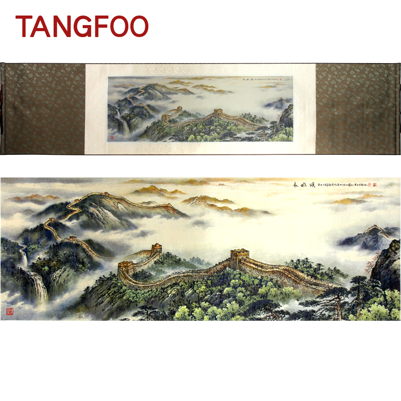 High Quality Silk Brocade Scroll Painting Art Printing Great Wall Picture Business Collection Gift Office Hotel Home Wall Decor