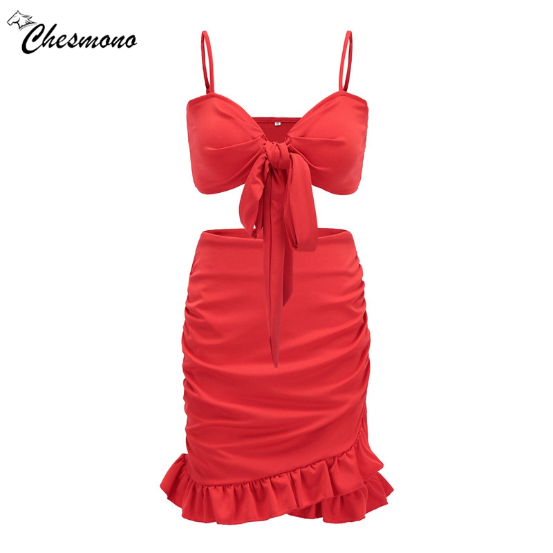 Summer Bra and dress Red Two pieces set Women Bow Solid Crop Tops dresses 2 pieces Suit set Asymmetric Ruffles dress