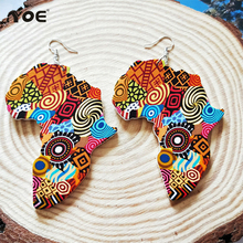 IYOE étnico exagerando espíritu africano mapa pendiente mujeres Vintage geométrica Circular de madera gota pendientes boda fiesta joyería