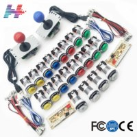 2 Player Arcade Kit With 5V LED Silver Chrome Coin Buttons Sanwa Joystick USB Encoder Cable For PC Raspberry Pi Game Parts