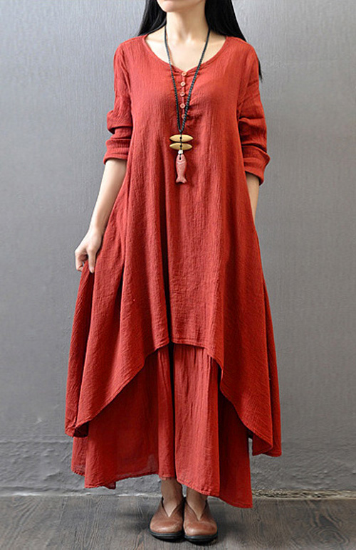 Women Peasant Ethnic Boho Lady Linen Long Sleeve Knee-Length Dress Gypsy Double Layer Cotton Linen Shirt Dresses