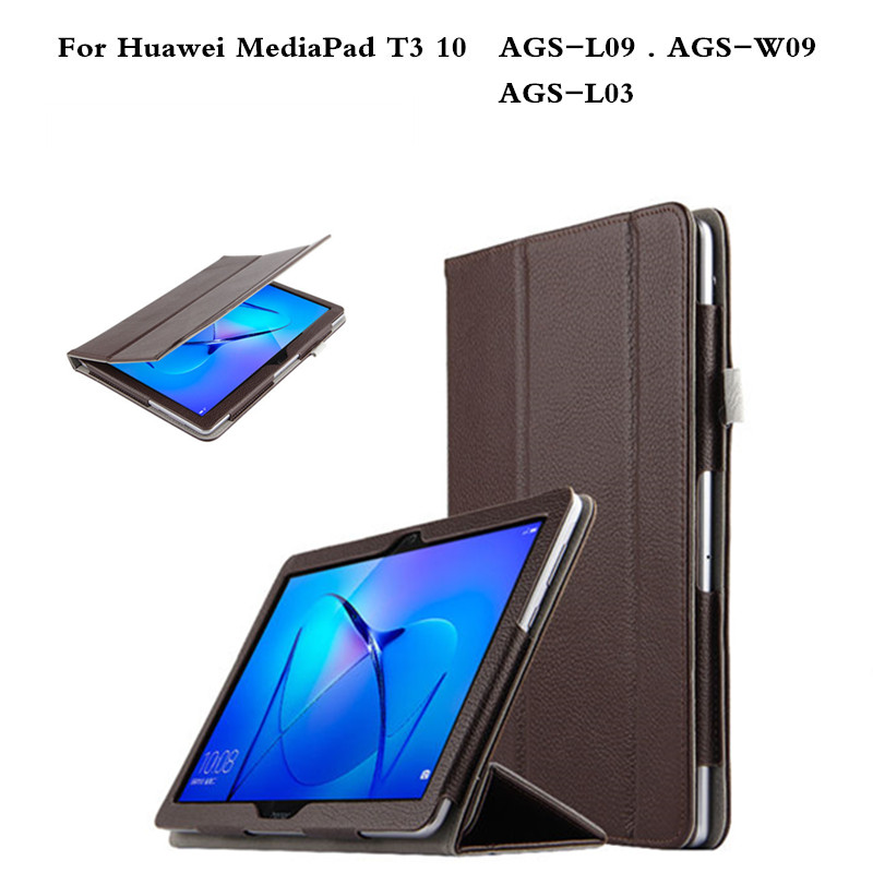 Business With Magnetic Premium Genuine leather Stand Cover Case For Huawei MediaPad T3 10 AGS-L09 AGS-L03 AGS-W09 9.6 Tablet free shipping new 10 1 original stand magnetic leather case cover for lenovo ibm thinkpad 10 tablet pc with sleep function